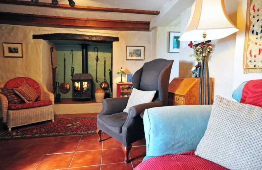 Welsh coastal cottage with log burner - lounge