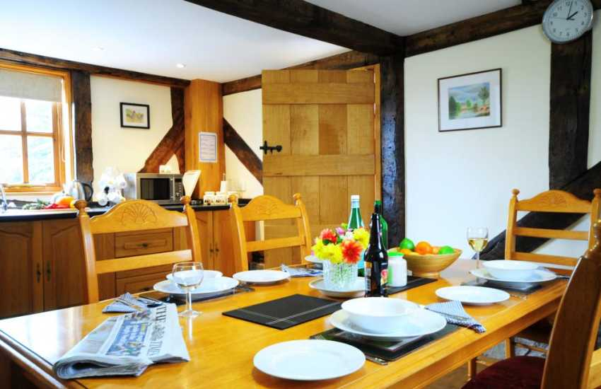 Mid Wales holiday cottage kitchen with views