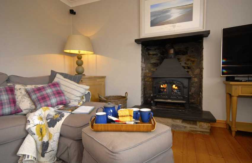 Carmarthenshire luxury holiday house - sitting room with log burning stove