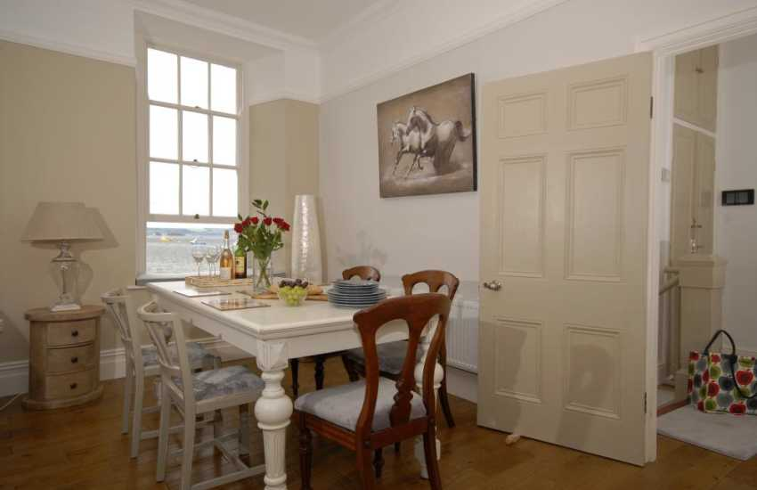 South Pembrokeshire holiday flat for 4 guests - dining area with sea views