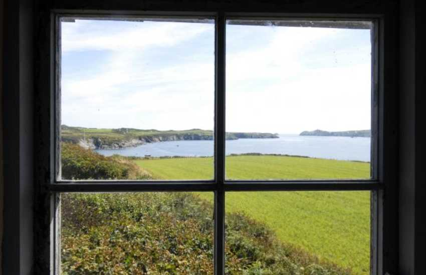 Breathtaking views over the coast at St Justinians from the 1st floor of the garden folly