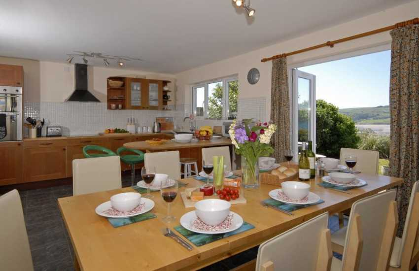 Gwbert self-catering holiday cottage - modern open plan kitchen/diner with sea views
