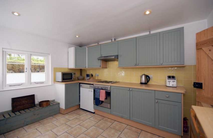 Modern kitchen at this Pembrokeshire cottage for holidays