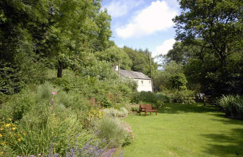 Large secluded garden at this holiday cottage in Wales