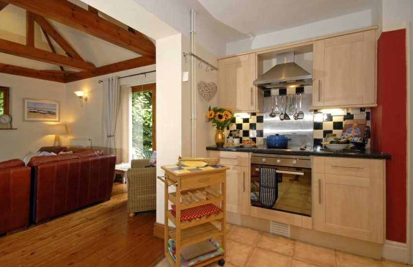 Oxwich Bay self catering accommodation - open plan kitchen/living room