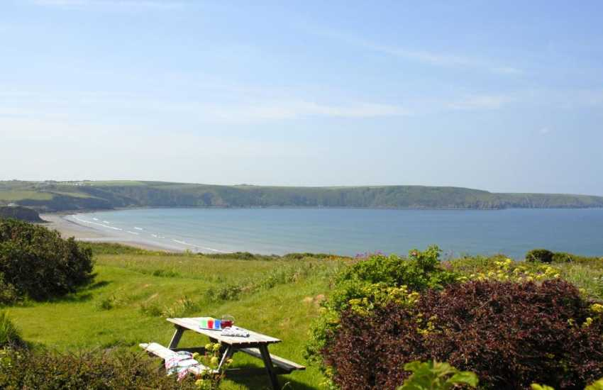 Enjoy fabulous sea views over St Brides Bay from the garden at Lion Rock