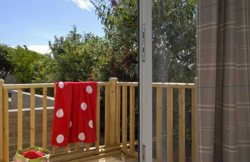 St Davids first floor holiday apartment - small decked balcony entrance