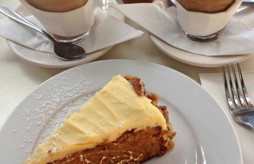 The Pebbles Yard Gallery and Espresso Bar - mouth watering cakes served with hot frothy coffee