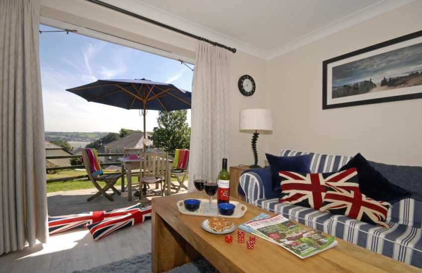Llansteffan family home near the beach - sitting room with views over the village and beyond