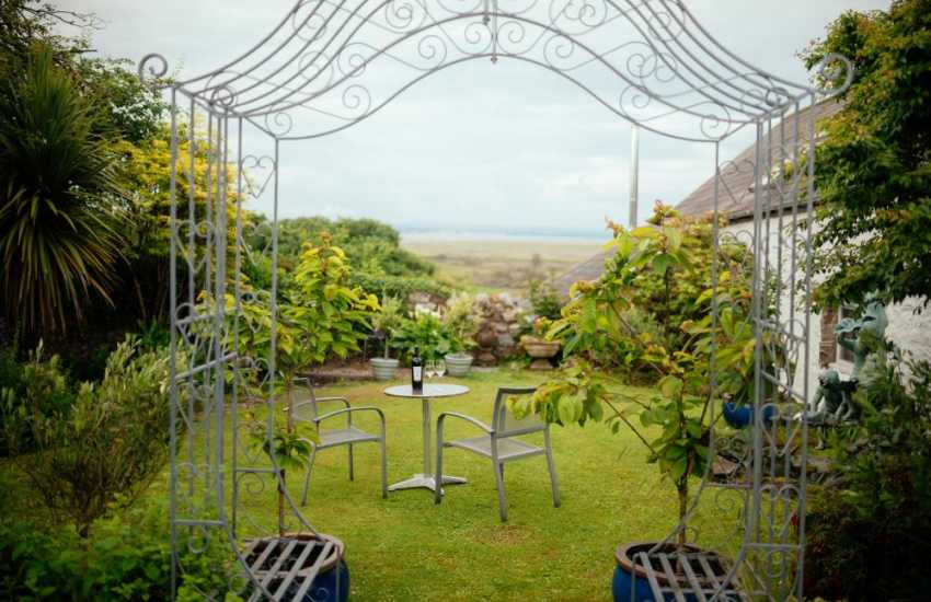 Welsh holiday cottage with good sized private garden at rear with table and chairs
