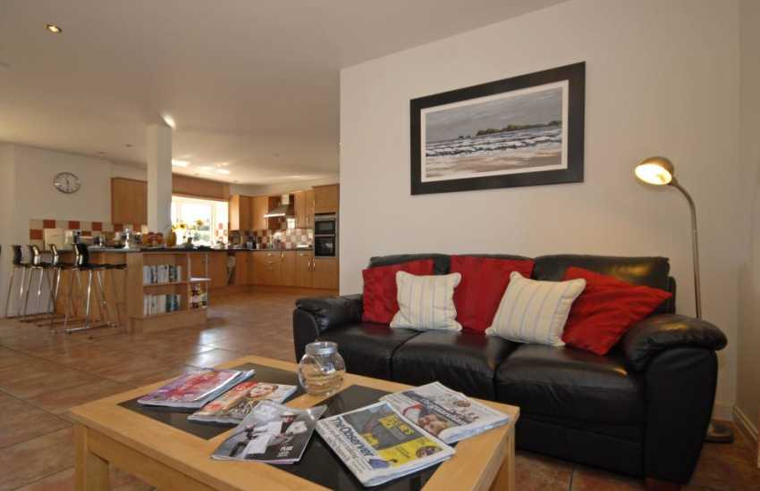 Solva holiday house - open plan kitchen/diner/ family sitting area with Sky t.v