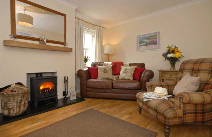St Davids, Pembrokeshire holiday Cottage - cosy sitting room with log burner