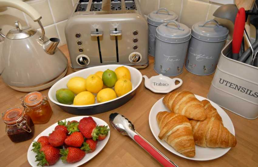Croissants and jam for breakfast in St Davids, Pembrokeshire