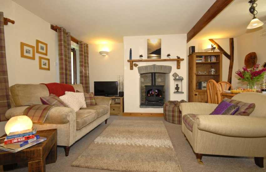 North Pembrokeshire cosy holiday cottage - lounge/diner with log burning stove