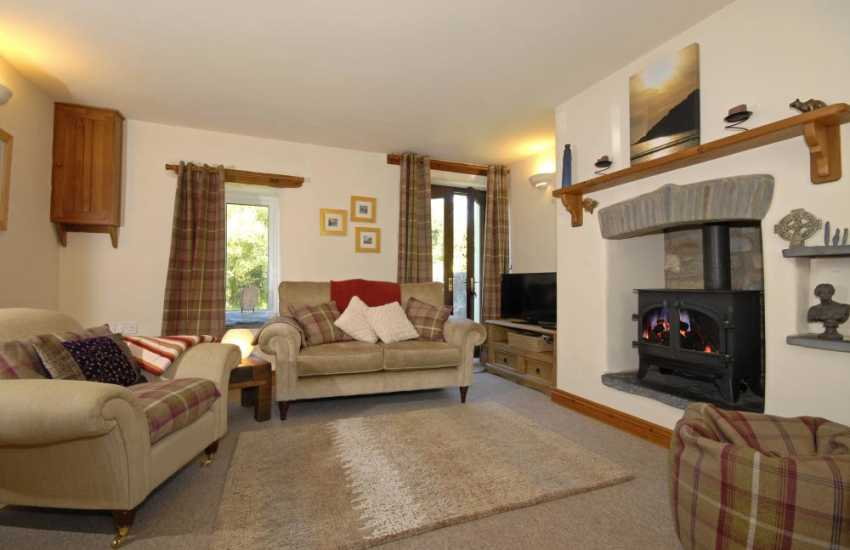 North Pembrokeshire cosy holiday cottage - lounge/diner with wood burning stove