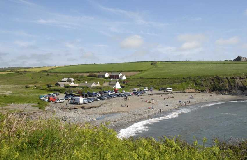 Abereiddy - a dark sandy beach great for fossil hunting and also home to the Blue Lagoon, a popular spot for coasteering