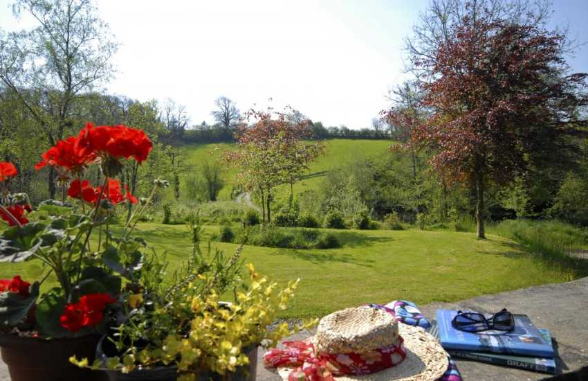 Rural holiday cottage - terrace with views over surrounding Welsh countryside