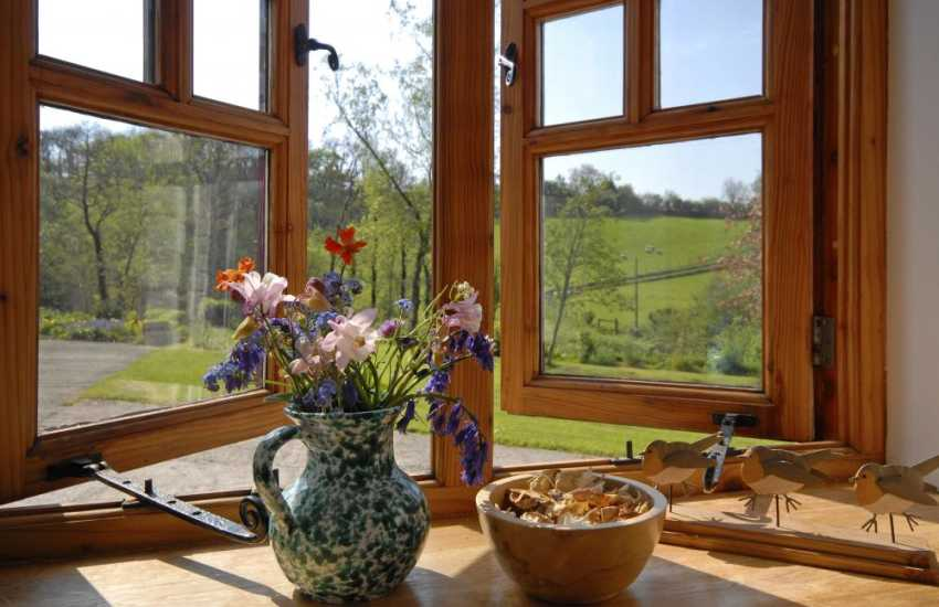 Holiday rural retreat Carmarthenshire - countryside views from the double bedroom