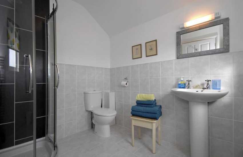 Solva holiday cottage - master en-suite shower