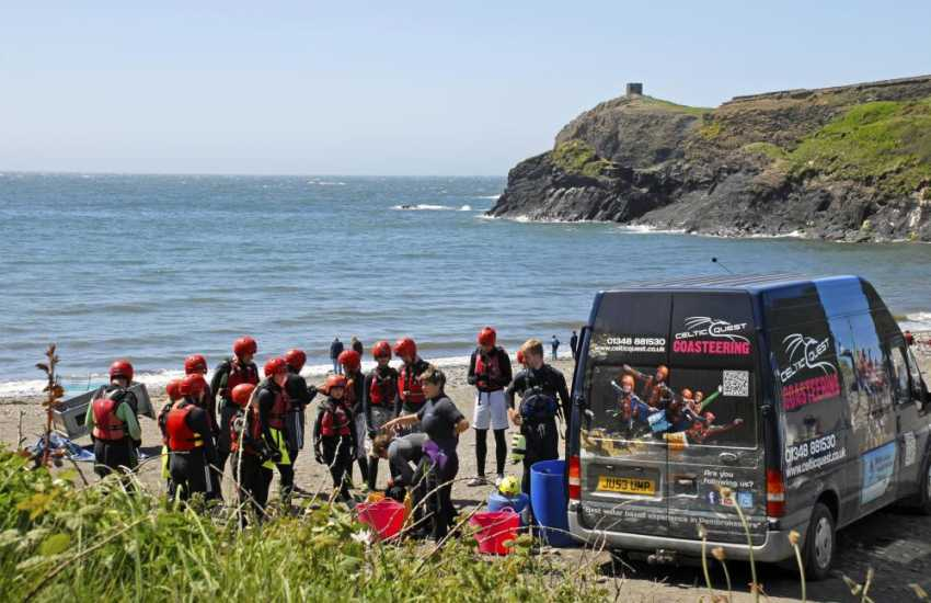 Abereiddy is popular with families and great for fossil hunting at low tide!