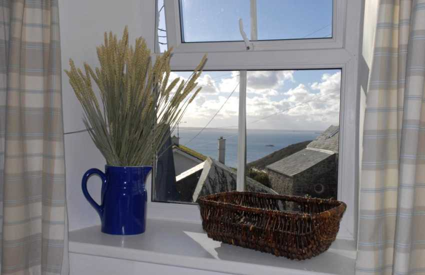Views over St Brides Bay from the master bedroom at Fishermans Cottage, Solva