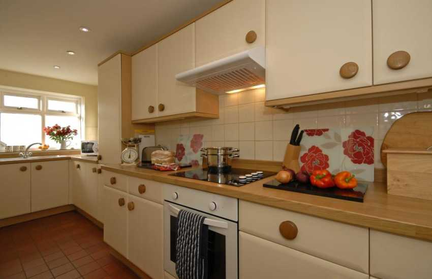 Self catering cottage Whitesands Beach - modern fully fitted galley style kitchen