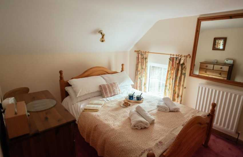 Worms Head and Rhossili beach close by cottage holiday-double bedroom