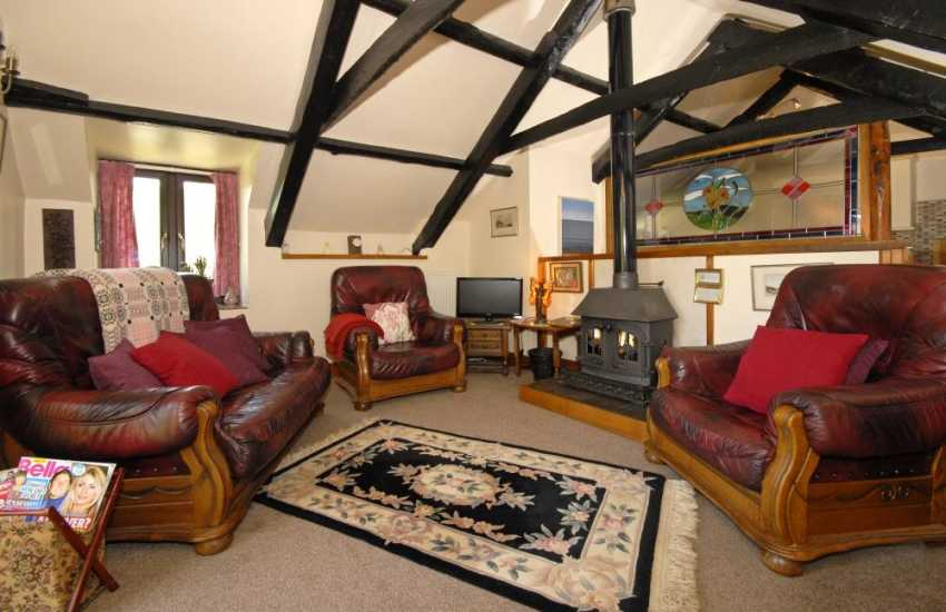 Cardigan Bay Heritage Coast holiday cottage - lounge with wood-burning stove