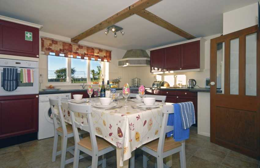 North Pembrokeshire holiday house - open plan kitchen/dining area with countryside views