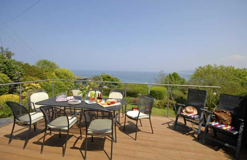 New Quay holiday home - deck with stunning sea views