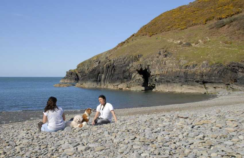 Down on the beach at Cwm Tydu - many of our holiday cottages welcome dogs