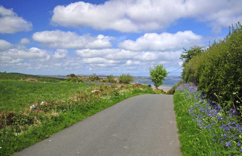 Steep road to beautiful Llanddona beach