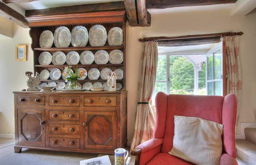 Old Welsh dresser in lounge of Mawddach holiday cottage