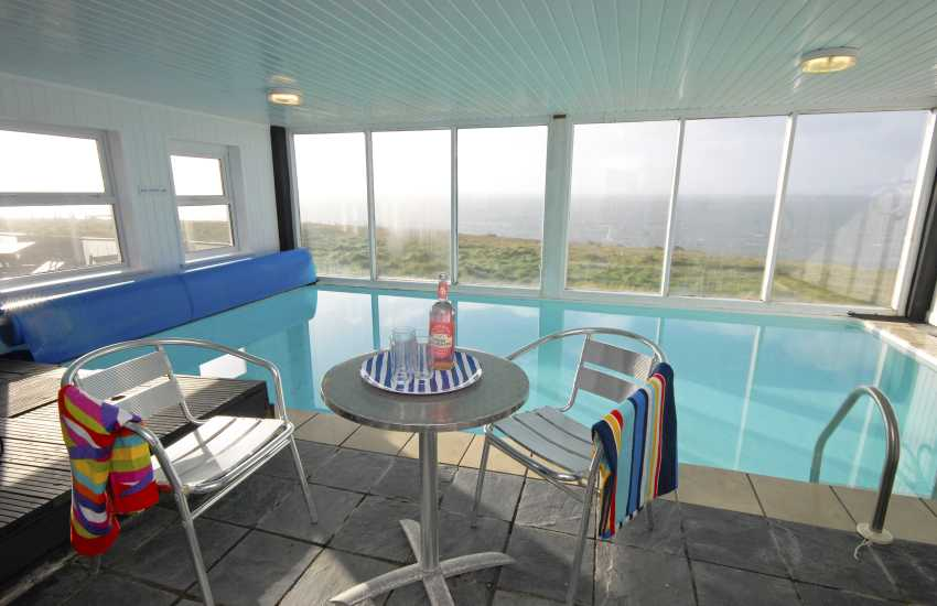 The Old Lighthouse, Pembrokeshire - swimming pool with sea views