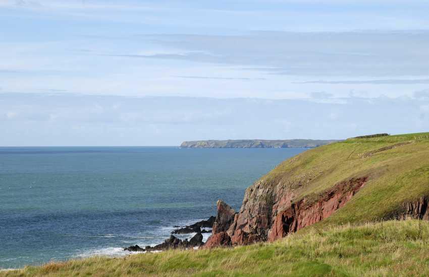 Views over the Pembrokeshire Coast Path to Skomer Island