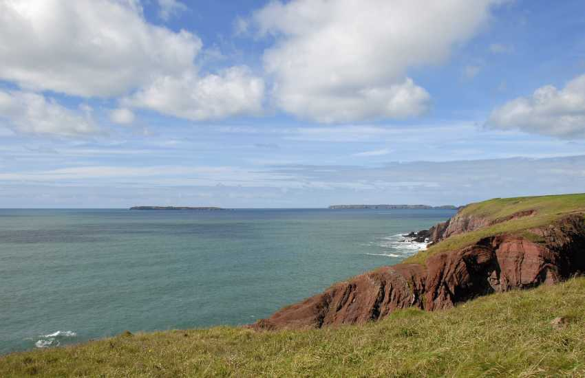 Views over the Pembrokeshire Coast Path to Skomer and Skokholm Island