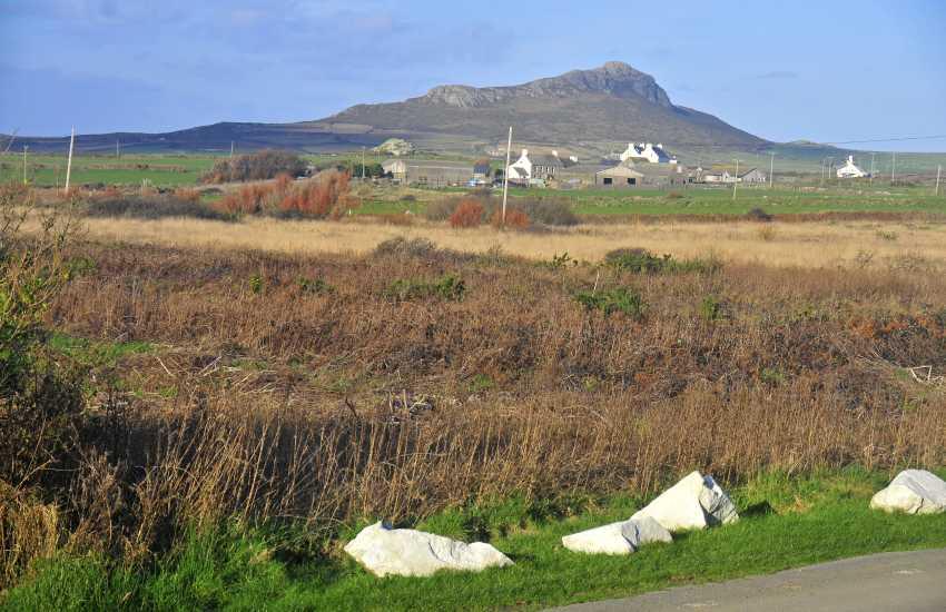 Views across the road towards Carn Llidi 'mountain'