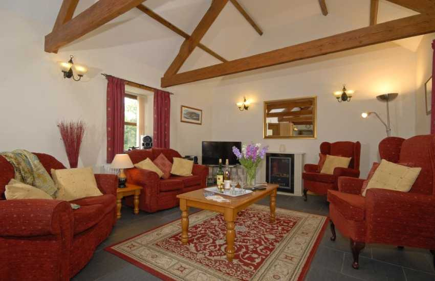 Llangrannog holiday cottage - comfortable sitting room with iPod dock, stereo system and smart TV