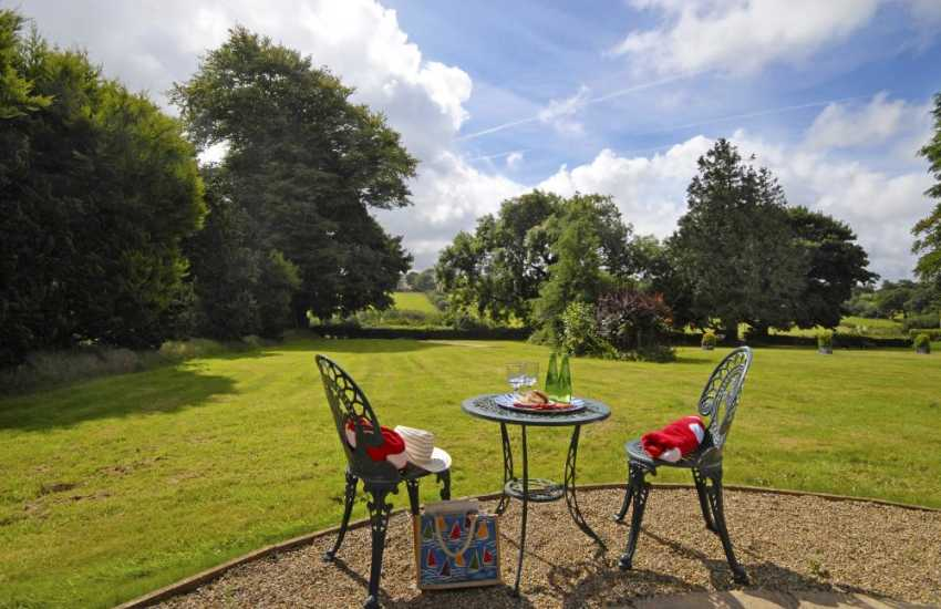 Cardiganshire rural holiday retreat with panoramic views over the gardens and surrounding countryside