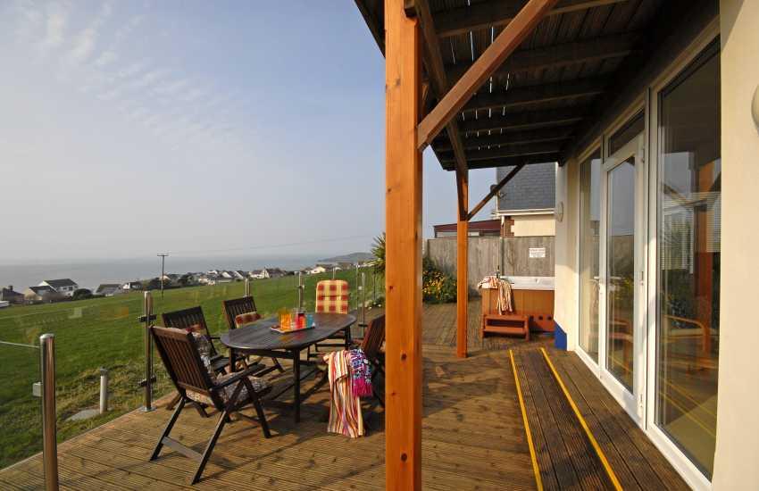 Teifi Estuary house - deck with hot tub and panoramic sea views