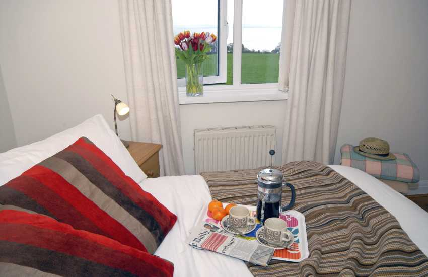 Saundersfoot cottage - double bedroom with sea views