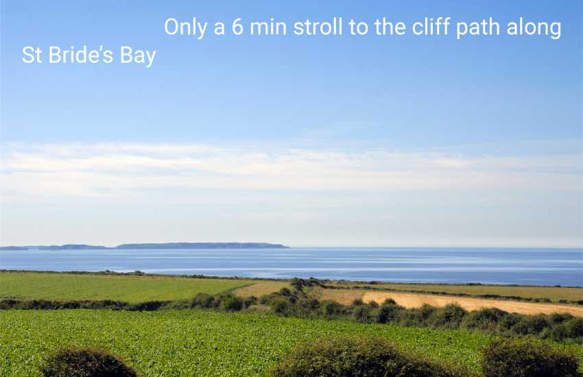 Stunning coastal views over St Brides Bay and Skomer Island from the first floor double bedrooms
