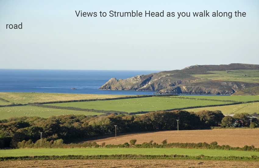 Views to Strumble Head has you walk down the road