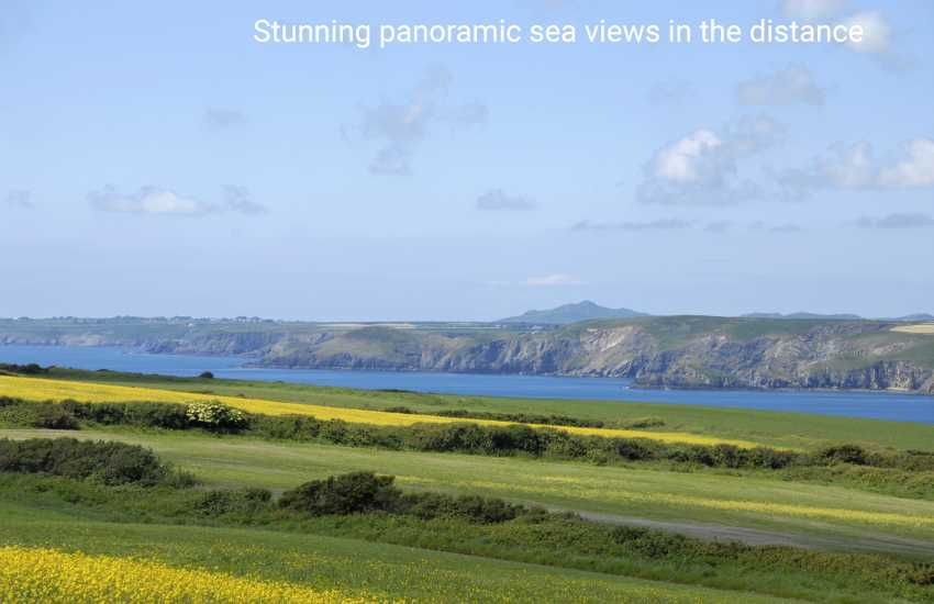 Sea views over St Brides Bay to Carn Llidi in the distance from Trefrane Lodge. (telephoto)