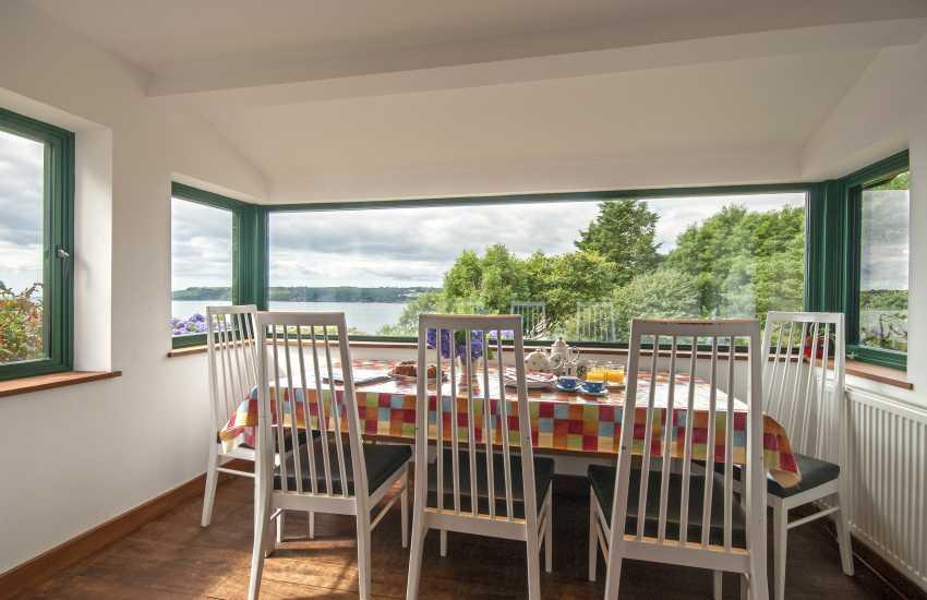 Dining area with coastal views
