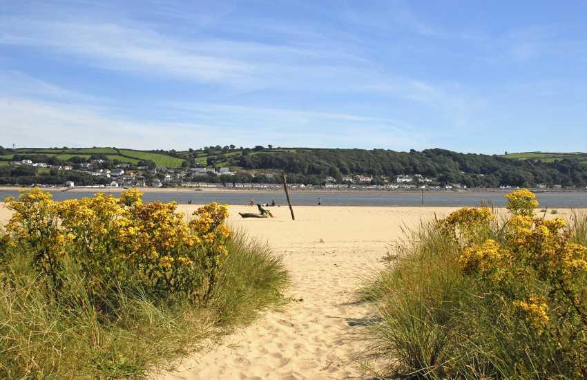 Llansteffan Beach is a sandy bay on the edge of the Towy Estuary