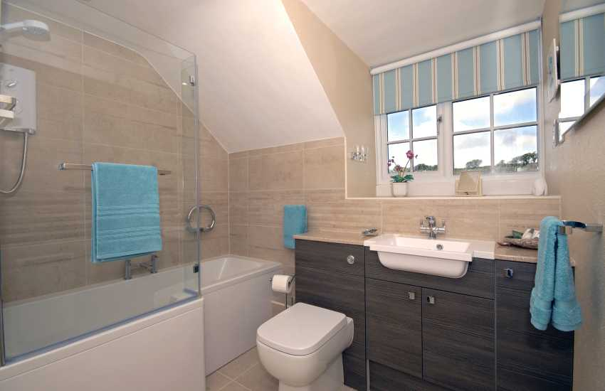 Modern bathroom with shower over bath