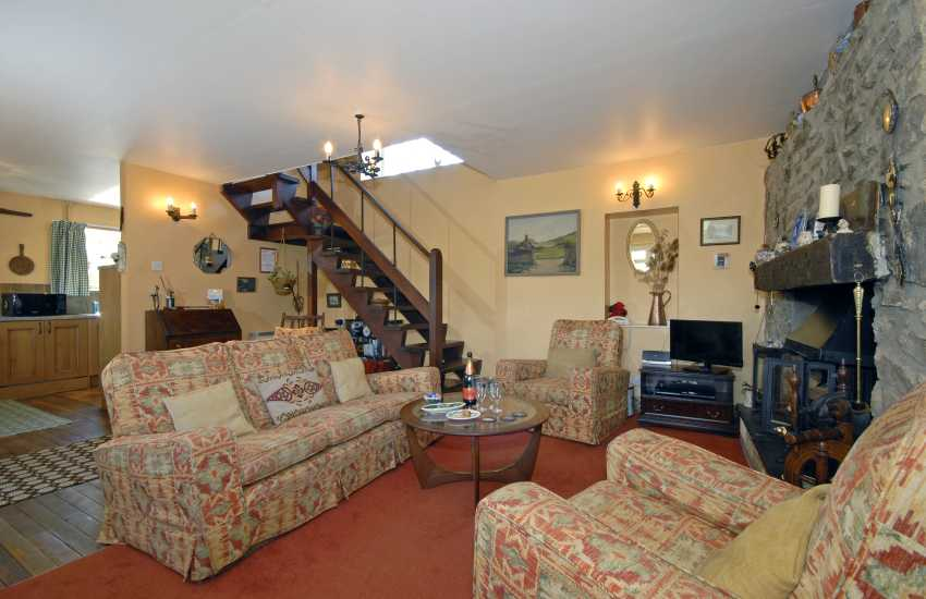 Solva holiday cottage with log burning stove and comfy living room