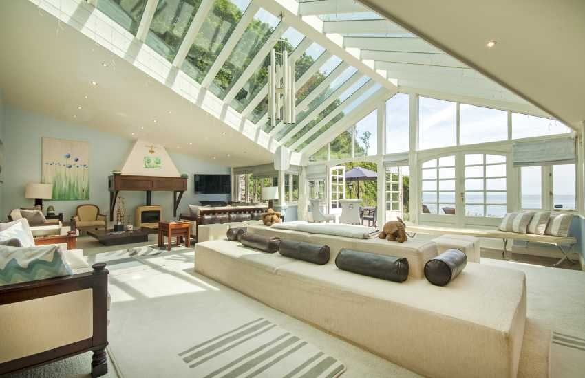 Sky Room with log burner and sea views at Waterwynch House