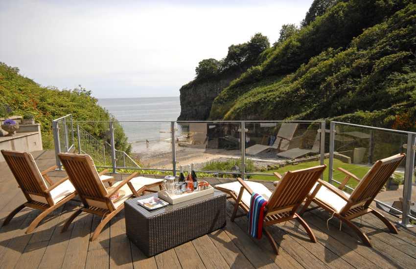 Decked area overlooks Waterwynch Beach